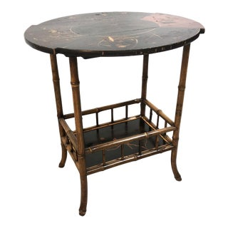 19th Century English Chinoiserie Bamboo Side Table by James Shoolbred & Co For Sale