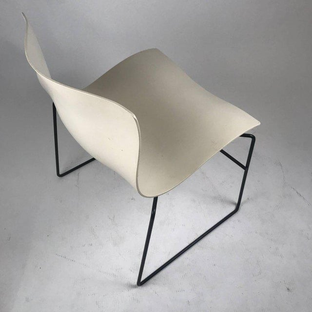 Knoll Knoll Massimo Vignelli Handkerchief Stacking Chair in Black & White For Sale - Image 4 of 10