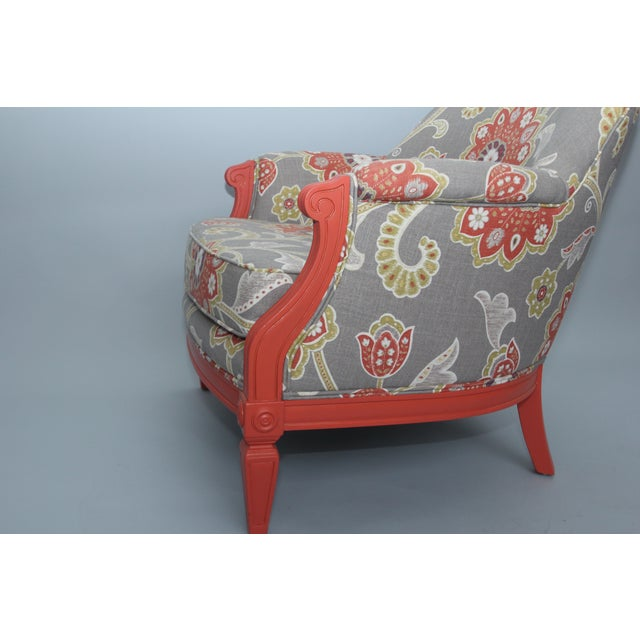 Coral & Floral Upholstered Chair - Image 4 of 4