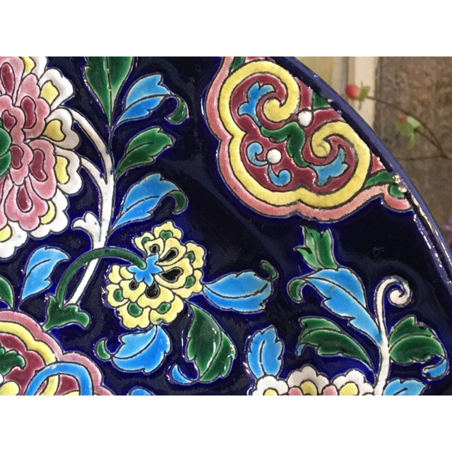 Antique French Faience Colorful Longwy Plate For Sale - Image 4 of 13