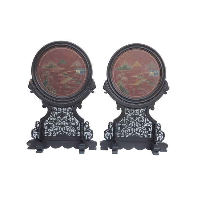 Asian Oriental Tabletop Display Plaques- A Pair For Sale - Image 3 of 9
