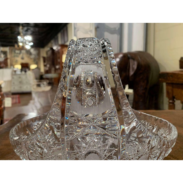 Mid-Century French Cut Glass Crystal Candy Basket With Handle For Sale In Dallas - Image 6 of 10