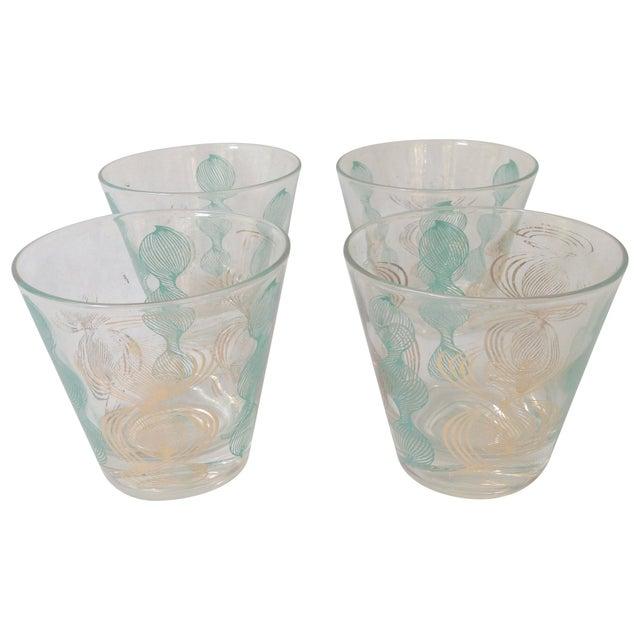 Vintage Gilt and Blue Bar Glasses For Sale