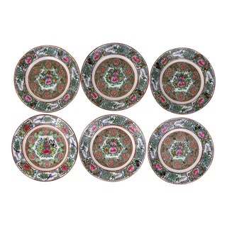 Vintage Chinese Porcelain Rose Medallion Plates - Set of 6