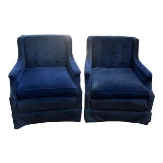 Vintage Blue Velvet Chairs - a Pair For Sale