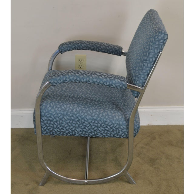 Metal Art Deco Vintage Chrome Frame Pair of Armchairs For Sale - Image 7 of 13