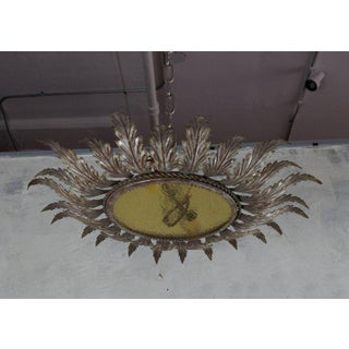 Spanish Metal Ceiling Fixture With Tinted Glass Preview