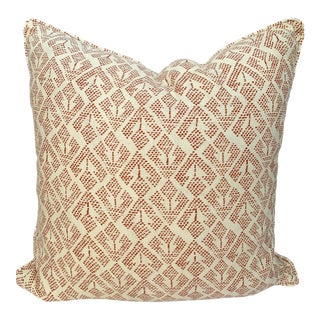 Red and White Carolina Irving Fabric Pillow For Sale