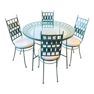 Arthur Umanoff Mid Century Modern Turquoise Metal Brutalist Dining Set For Sale