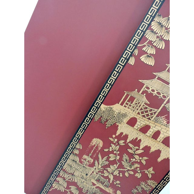 Decorative Oriental Red & Gold Wall Panels - Pair For Sale - Image 5 of 5