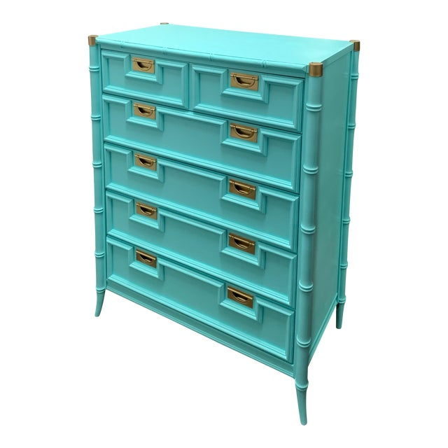 Vintage Century Furniture Chinoiserie Aqua Faux Bamboo Highboy Dresser For Sale