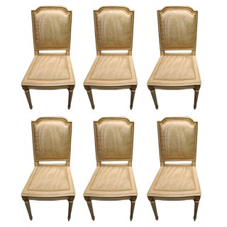 Set of Six Louis XVI Style Painted and Gilded Side Chairs, Early 20th Century For Sale