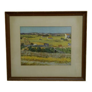 "1964 ""Tending the Field"" Framed and Matted Original Print For Sale"