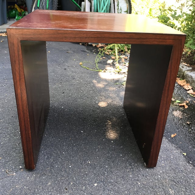 Mid-Century Modern Wood Veneer Waterfall Table For Sale - Image 5 of 10