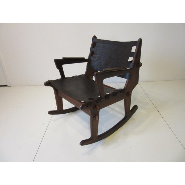 Mid 20th Century Angel Pazmino Mid Century Sculptural Rosewood Rocking Chair For Sale - Image 5 of 12