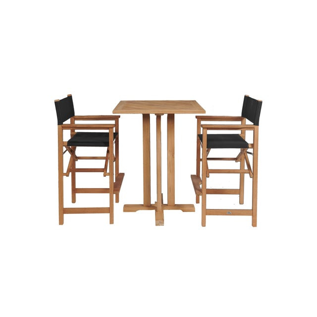 Not Yet Made - Made To Order Captain Bar in Black 3-Piece Teak Square Bar Height Outdoor Dining Set For Sale - Image 5 of 5