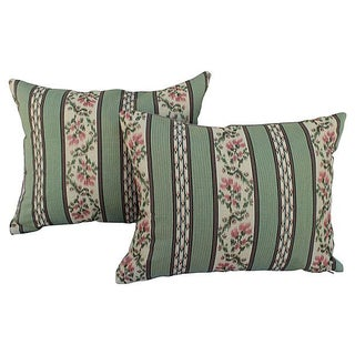 Embroidered Floral Pillows - Pair