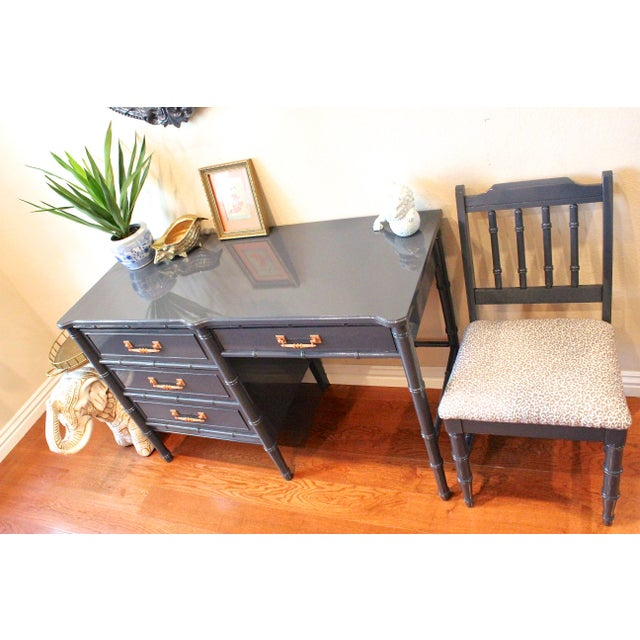 Asian Henry Link Bali Hai Faux Bamboo Desk and Chair Set For Sale - Image 3 of 11