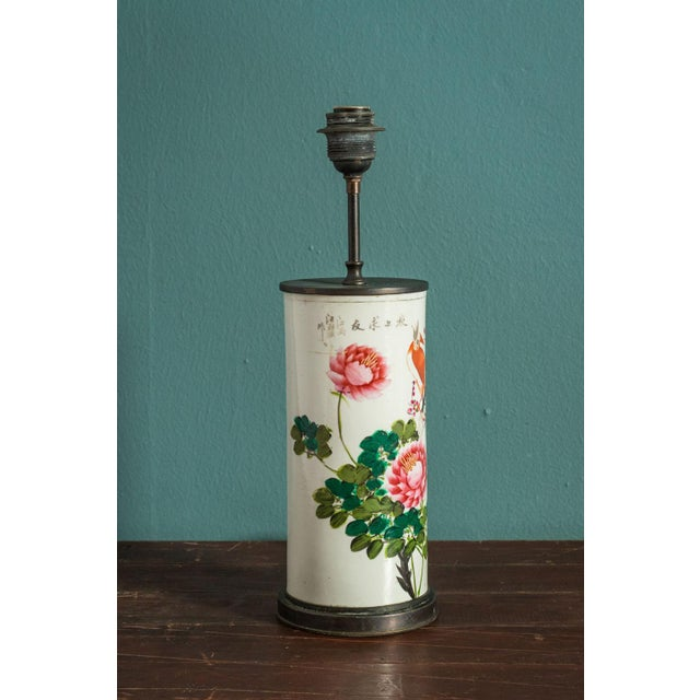 Asian Hand-Painted Japanese Custom Lamp For Sale - Image 3 of 6