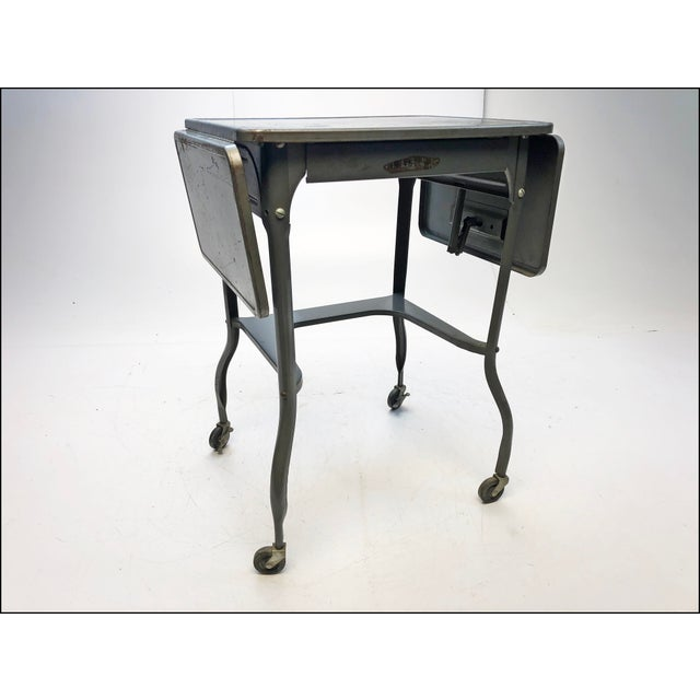 Vintage Industrial Gray Metal Typewriter Table with Double Drop Leaf For Sale - Image 10 of 13
