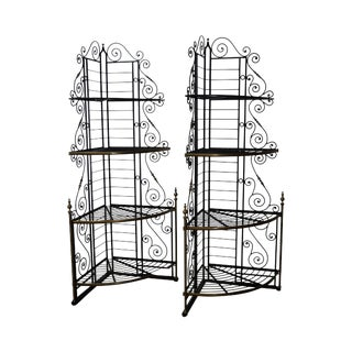 Vintage Pair of Quality French Country Black Iron & Brass Corner Bakers Racks For Sale
