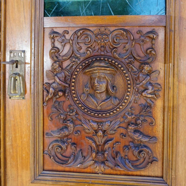 Antique Wooden Carved Cupboard With Several Carvings For Sale - Image 11 of 13