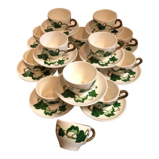 1940s Vintage Metlox PoppyTrail California Ivy Tea Cup & Saucers Tea Party Coffee - Set of 27 For Sale