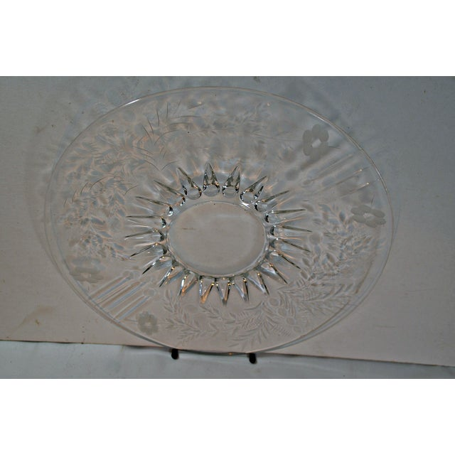 Vintage Clear Etched Glass Server Plate For Sale - Image 4 of 7