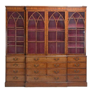 George III Inlaid Mahogany Breakfront Bookcase For Sale