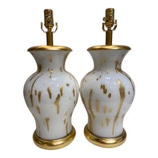 Contemporary Gold Pop Splatter Table Lamps - a Pair For Sale