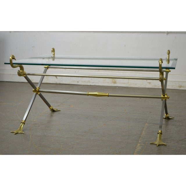 *STORE ITEM #: 17427-fwmr LaBarge X Base Brass Brushed Steel Glass Top Coffee Table AGE / ORIGIN: Approx. 20 years,...