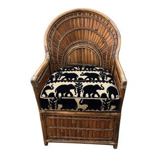 Vintage Rattan Sunrise Accent Chair For Sale