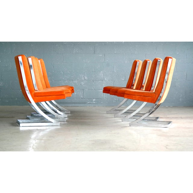 Milo Baughman Eight Chrome 'Z-Dining Chairs' for Design Institute of America - Image 3 of 11