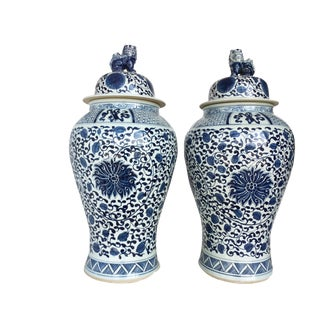 "Mansion Size Chinoiserie B & W Porcelain Floral Ginger Jars Pair 36"" H"