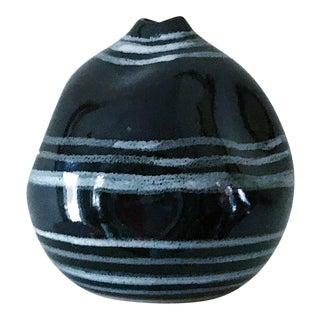 Vintage Black & White Striped Bud Vase