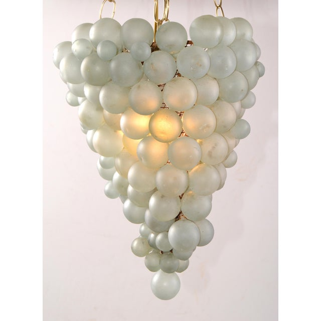 Large Italian Mid-Century Modern Blown Murano Glass & Brass Grape Chandelier For Sale - Image 12 of 13