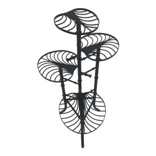 Black Cast Wrought Iron Faux Bamboo Plant Stand For Sale