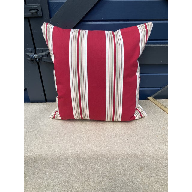 Antique French Ticking Stripe Red & White Pillow For Sale - Image 4 of 4