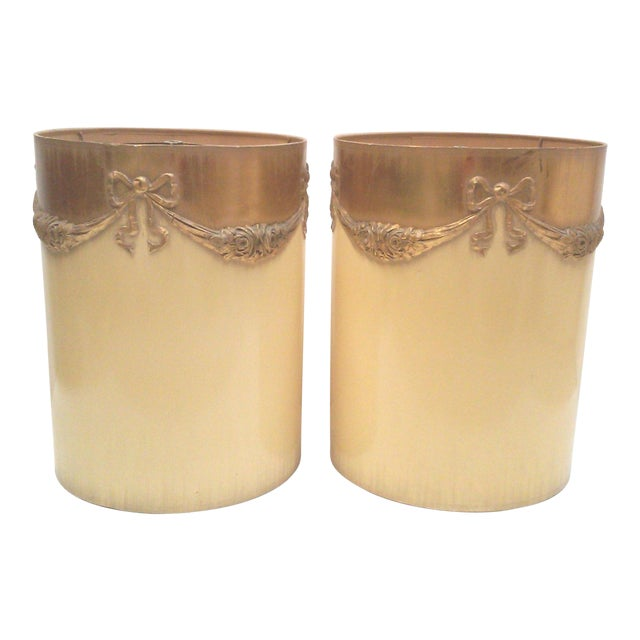 Regency Ivory Ormolu Roses & Bows Lamp Shades - a Pair For Sale