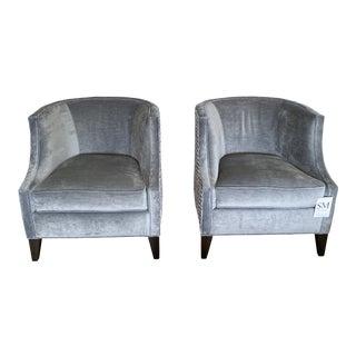 Modern Barrel Club Chairs- A Pair For Sale