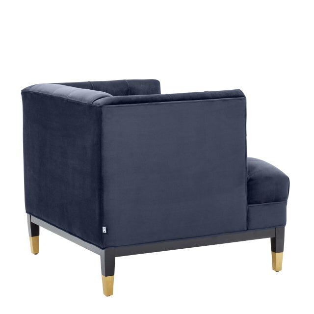 Mid-Century Modern Blue Tufted Cube Chair | Eichholtz Castelle For Sale - Image 3 of 6