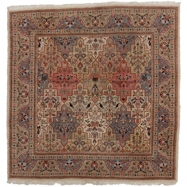 RugsinDallas Vintage Persian Tabriz Wool Rug - 4′9″ × 4′11″ For Sale