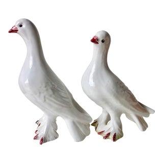 2 Italian Terra Cotta Painted Birds