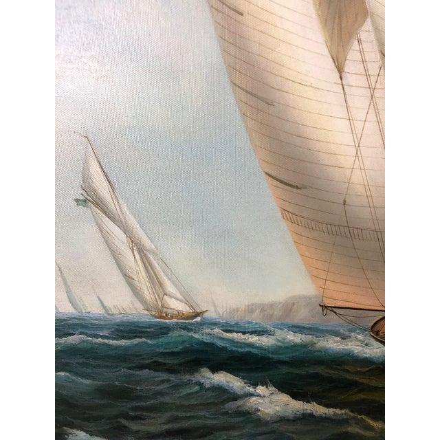Realist Painting of Sailing Vessels by Cooper For Sale In Philadelphia - Image 6 of 13