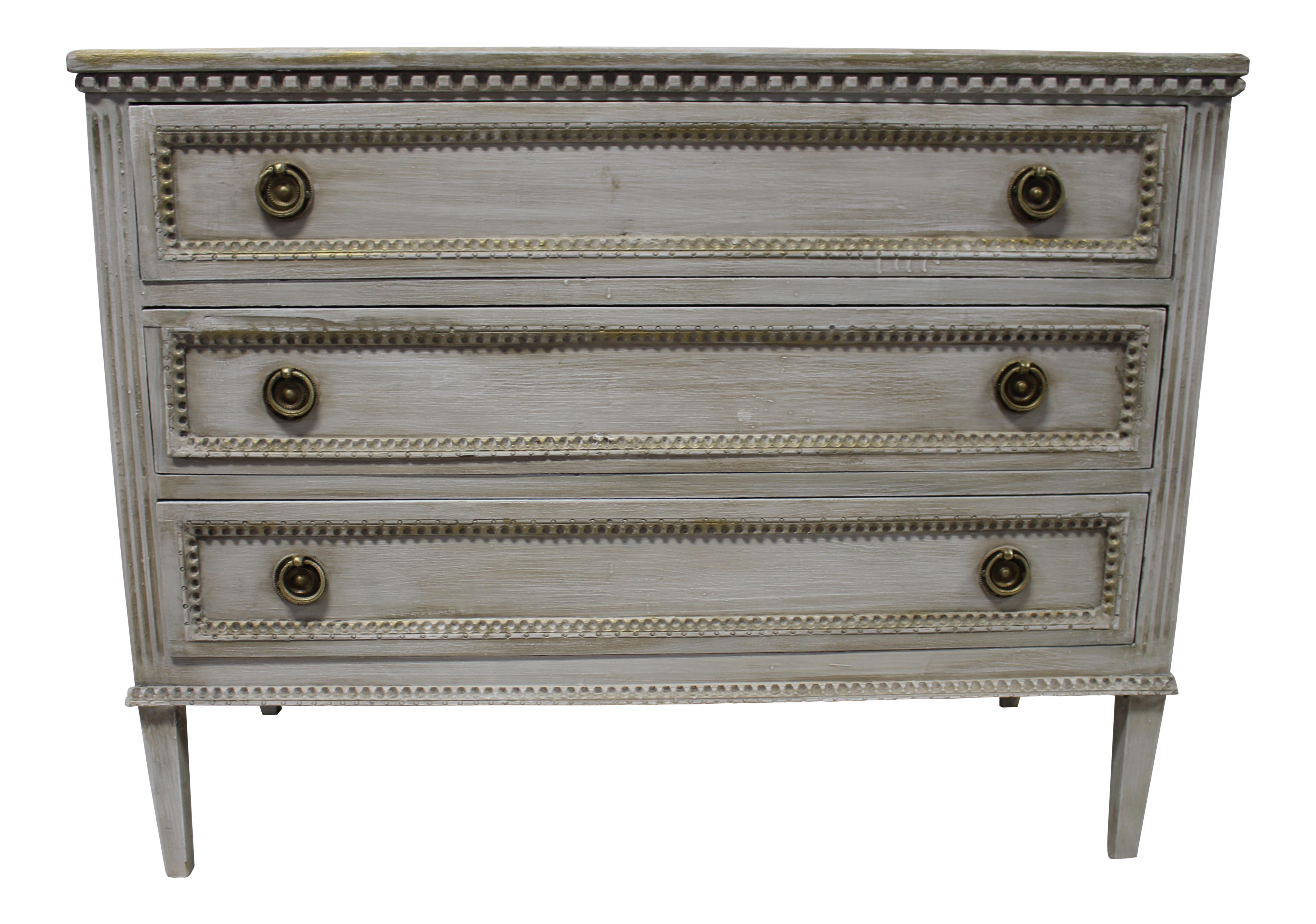 20th Century Beaded Gustavian Gold Leaf Trim Chest Of Drawers