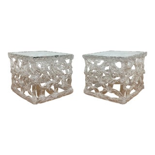 """C. 1970s Tony Duquette Style Clear Acrylic """"Taffy Pull"""" End Tables - a Pair For Sale"""