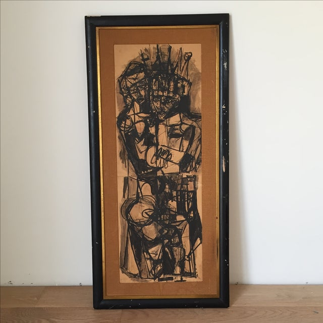Vintage Mid-Century Original Ink Abstract in Frame - Image 2 of 8