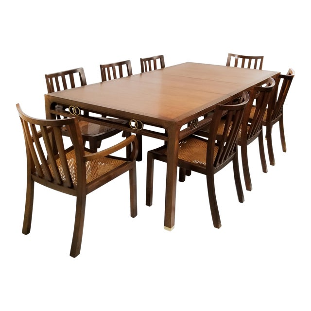 1960's Baker Far East Collection Dining Room Table and Chairs by Michael Taylor For Sale