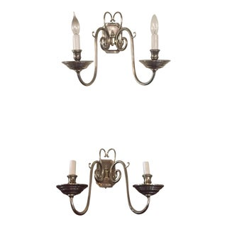 Ralph Lauren Lillianne Double Sconces in Butler's Silver - a Pair For Sale
