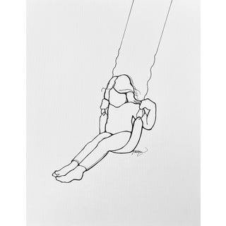 """""""Carefree"""" Contemporary Minimalist Figurative Line Drawing by Tawna Allred For Sale"""